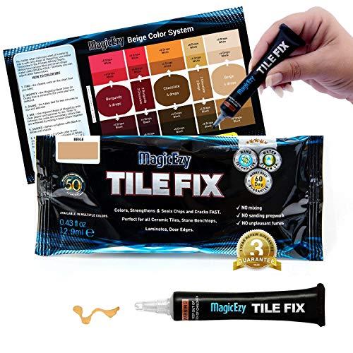 MagicEzy Tile Fix Farbiger Fliesenfüller repariert Schaden in Sekunden (Rot Beige)