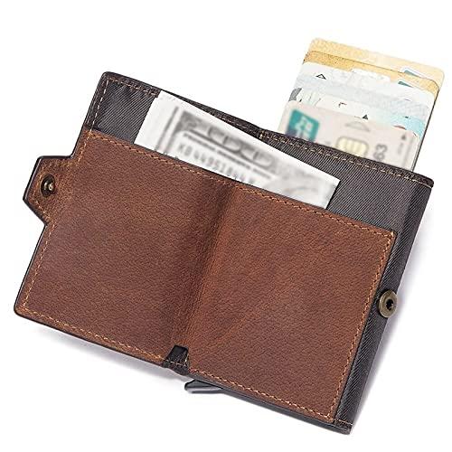 Tarjetero Delgado para Tarjetas De Crédito Cartera De Bloqueo RFID para Hombre Estuche para Tarjetero Emergente De Cuero Genuino De Aluminio (Color : Brown, Size : 2.8x0.8x3.7inch)