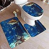 Ttrsudddsyy Juego de alfombras de baño de 3 Piezas,Tiburón de Acuario, Almohadillas Antideslizantes Alfombrilla de baño + Contorno + Cubierta de Tapa de Inodoro Almohadilla