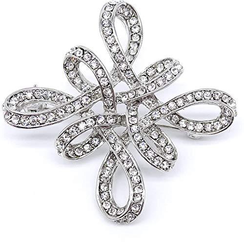 Wunderschöne Brosche in Silber mit klaren Swarovski-Kristallen