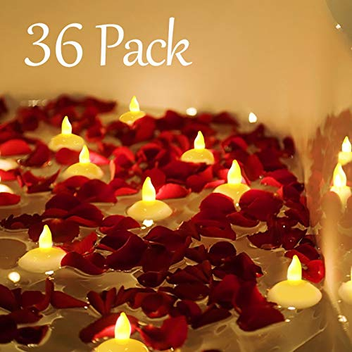 Homemory 36 Pack Flameless Floating Candles, Bright Yellow Flickering LED Tealight Candles in Bulk, Decor for Wedding, Party, Centerpiece, Pool, Christmas
