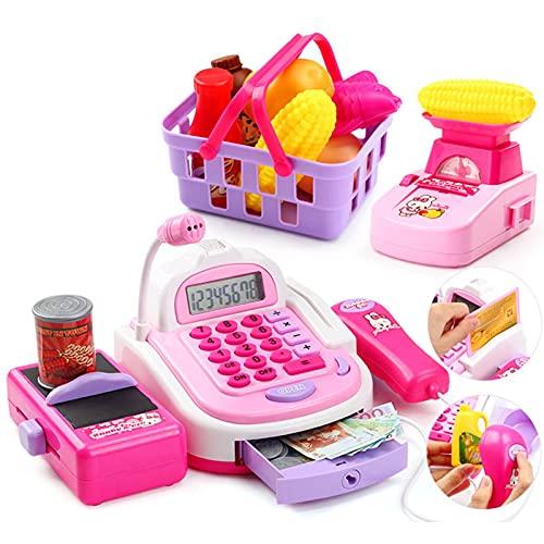 GAOAO Juguete de Caja registradora eléctrica de simulación de casa de Juegos para niños, Tarjeta de Caja registradora de supermercado para bebés con Juego de Canasta de Compras