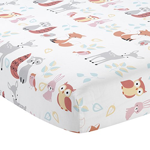Lambs & Ivy Little Woodland Animals Fitted Crib Sheet, Wh