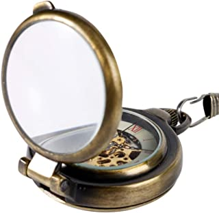 YXZQ Pocket Watch, Hand Wind Mechanical Cool 180 degrees Open Case Transparent Glass Cover Roman Numbers Unisex Chain