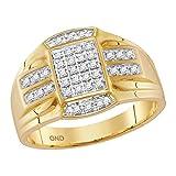 Jewels By Lux Anillo rectángulo de Oro Amarillo Diamante para Hombre...
