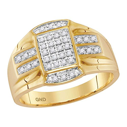 Jewels By Lux Anillo rectángulo de Oro Amarillo Diamante para Hombre 12