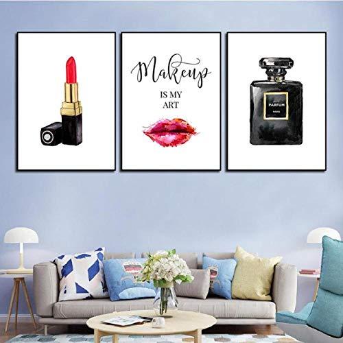 LZASMMVP Perfume Maquillaje Carteles e Impresiones Beauty Begins Cita Arte de Pared Impresión de pestañas Lápiz Labial Imágenes Decoración de Dormitorio Decoración del hogar   40x60cmx3 Sin Marco