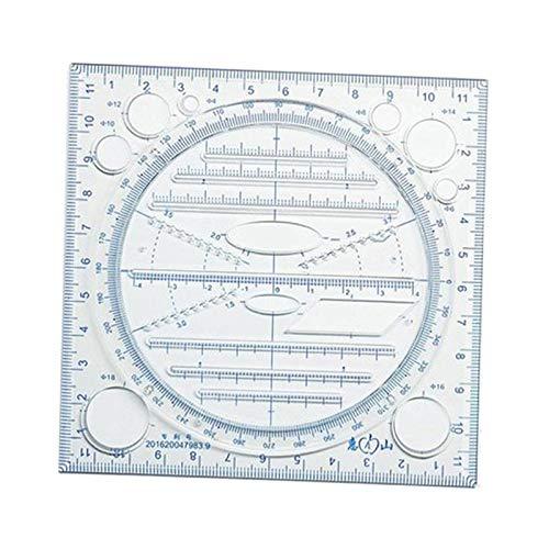 perfeclan Plantilla de Regla Geométrica de Dibujo Giratorio para Encofrado de Redacción Escolar de Oficina