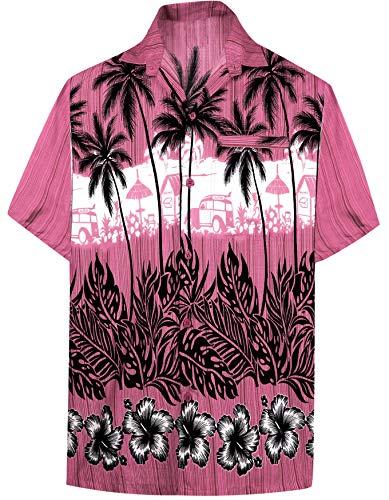 LA LEELA Casual Hawaiana Camisa para Hombre Señores Manga Corta Bolsillo Delantero Surf Palmeras Caballeros Playa Aloha 4XL-(in cms):162-167 Rosa_W385