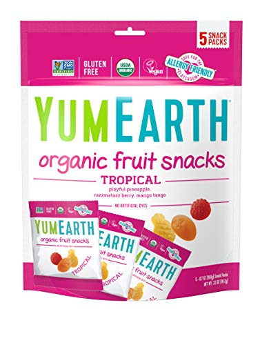 YumEarth Organic Vegan Tropical Fruit Snacks, 5 Snack Packs per bag, (Pack of 12) - Allergy Friendly, Non GMO, Gluten Free, Vegan (Packaging May Vary)