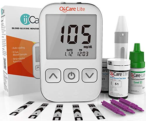 Oh'Care Lite Blood Sugar Test Kit – Blood Glucose Meter with Strips and Lancets, Lancing Device, Log, and Case - One Touch Eject Glucometer (110 Strips, 125 Lancets, & Control Solution)