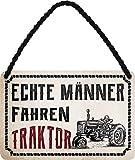 Cartel de chapa con texto en alemán 'Real Männer Fahrenner, tractor', decoración vintage, divertido regalo para agricultores y agricultores, 18 x 12 cm