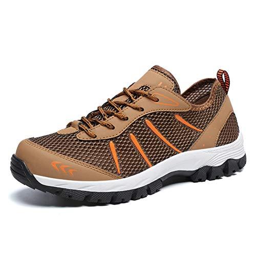 Tazan trekkingschoenen, heren, zomer, wandelschoenen, mesh, voor buiten, model 2019, niet smalle, ademende loopschoenen, bruin-blauw-grijs 39-48EU