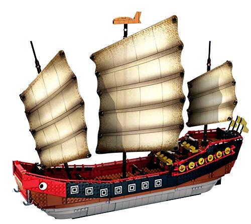 Modbrix Bausteine Segelschiff, Chinesische Dschunke, 56 cm, Konstruktionsspielzeug