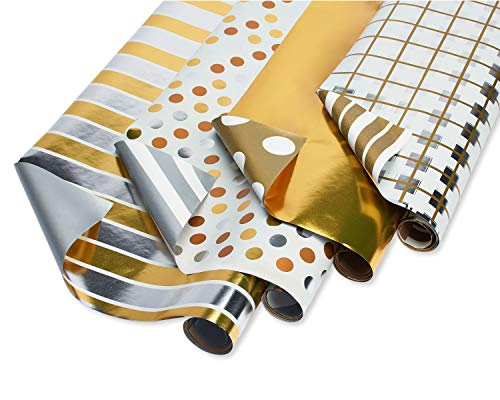 American Greetings Reversible Graduation Wrapping Paper, Gold and Silver (4 Pack, 80 sq. ft.)