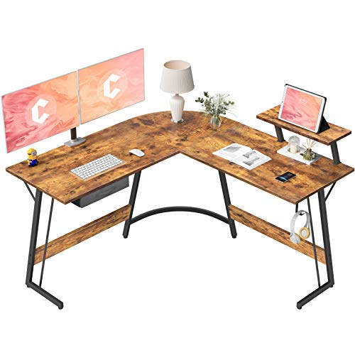 CubiCubi LShaped Desk Computer Corner Desk 508quot Home Gaming Desk Office Writing Study Workstation with Large Monitor Stand SpaceSaving Easy to Assemble