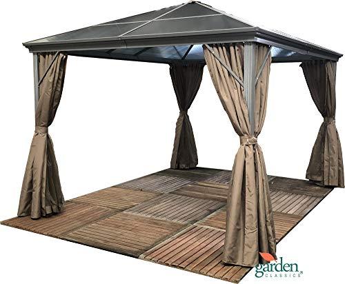 Cenador de jardín Swanbourne con techo de policarbonato ahumado resistente, de 3,6 x 3 metros, con mosquiteras laterales, adecuado para jacuzzis