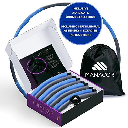 Manacor Hula Hoop Reifen für Erwachsene & Anfänger inklusive Turnbeutel & Maßband. Mühelose Fitness zum Abnehmen für Zuhause & unterwegs Hula-Hoop Fitnessreifen & Bauchtrainer (Blau/Grau)