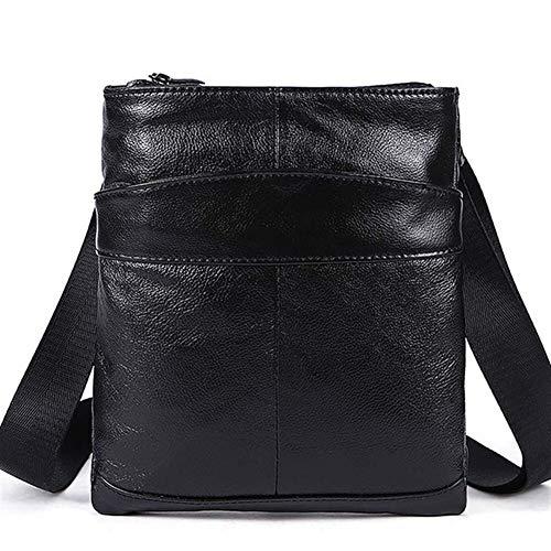 T-ara The New Shoulder Mens Genuine Leather Little Bag Crossbody Mens O'er Shoulder Bags Shoulder Mens Mens Genuine Leather Fashion Leather Essential for hiking (Color : Black, Size : XL)
