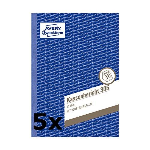 Avery Zweckform 305 Kassenbericht (A5, mikroperforiert, 50 Blatt) (5 Stück, weiß)
