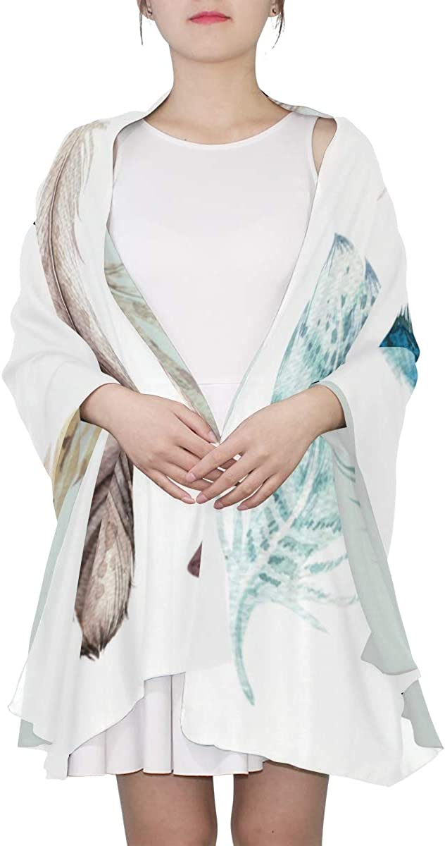 Hand Painted Cute Feather Unique Fashion Scarf For Women Lightweight Fashion Fall Winter Print Scarves Shawl Wraps Gifts For Early Spring