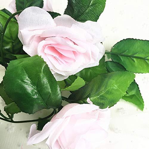 Mistari 250CM/lot Silk Roses Ivy Vine with Green Leaves for Home Wedding Decoration Fake Leaf DIY Hanging Garland Artificial Flowers- Fake Hanging Plant- Artificial Plants-Light Pink