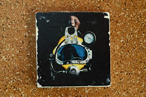 Taucherhelm Untersetzer aus Travertin Stein Fliese türkis, handmade coaster