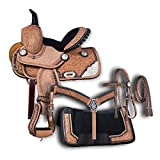 Blue Lake Premium Western Leather Barrel Racing Adult Horse Saddle Tack with Matching Leather Headstall + Breast Collar + Reins | Color : Lemonde Pink-Black | Size 15 Inches Seat Available