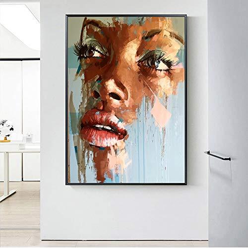Afrikanische Frau Gesicht abstrakte Leinwandbilder an der Wand Kunst und afrikanische Kunst Bilder für Wohnzimmer 60x90cm (kein Rahmen)