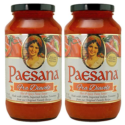Paesana Traditional Fra Diavolo Pasta Sauce — Gluten Free, Vegan Friendly and made with 100% Imported Italian Tomatoes - Packed in the USA, 25 oz (2 Pack)