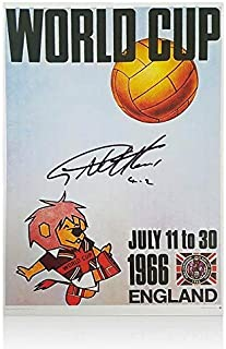 """Sir Geoff Hurst Signed 1966 World Cup Poster - World Cup Willie,""""4-2"""" Edition - Autographed Soccer Photos"""