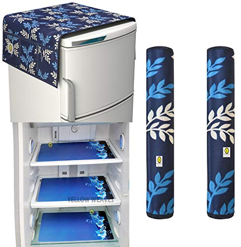 Yellow Weaves™Combo of Exclusive Decorative Fridge Top Cover, 2 Fridge Handle Covers + 3 Fridge Mats (6 Piece Set)
