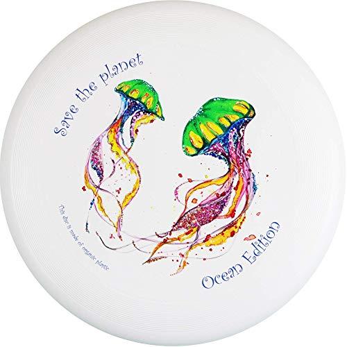 Eurodisc 175g Ultimate Frisbee Disc Wettkampf-Wurf-Scheibe Bio-Kunststoff stabile Flugbahn über 100 Meter, Design Motiv Foto Bild Save The Planet Jellyfish, Ocean Ozean Edition