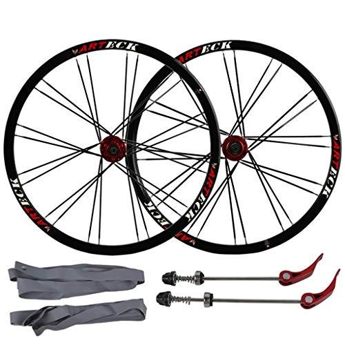 MZPWJD Ciclismo Ruedas MTB Juego Ruedas Bicicleta 26' for Bicicleta Montaña Llantas Doble Pared Freno Disco 7-10 Velocidades Tarjeta Hub Liberación Rápida 24H (Color : B-Black, Size : 26')