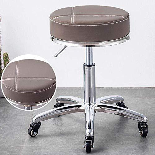 Taburete de barbero , Taburete de bar con ruedas,taburete de spa con asiento de cuero sintético rojo,altura ajustable 45-57 cm,peso soportado 160 kg,sillín de taburete de belleza for el trabajo,silla
