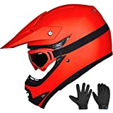ILM Youth Kids ATV Motocross Dirt Bike Motorcycle BMX Downhill Off-Road MTB Mountain Bike Helmet DOT Approved (Youth-XL, Matte Red)