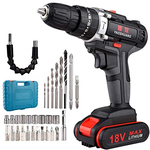 18V 2 Speed Cordless Hammer Impact Drill Screwdriver with Case Tool