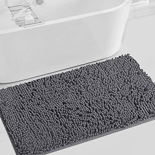 IDECLITY Bathroom Rugs, Super Soft Bath Mat for Bathrooms Floor, Chenille Plush Bathroom Mat Bathroom Floor Mat Bath Rugs Non Slip Washable, Indoor Carpet Mats Rugs for Entryway