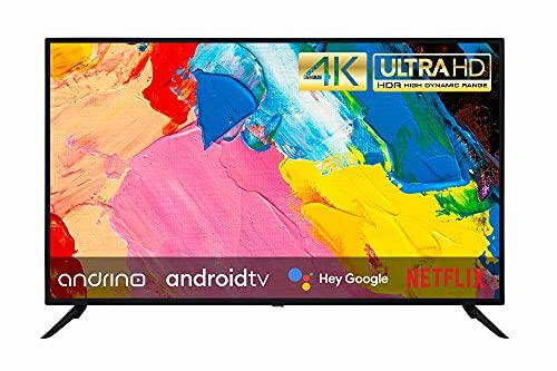 Andrino televisor AN43U01 43 pollici 109 cm 4K UHD LED Smart TV Tuner T2 S2 C Android TV, Google Assistant, Google Play Store, DAZN, Prime Video, Netflix Chromecast Wi-Fi Bluetooth HDR10 HLG DTT
