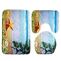 バスマット 3枚/セット浴室マットセットトイレ世界アンチスリップバスマットラグホームデコレーション浴室製品風呂マットセット (Color : 02)