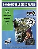 PPD DIN A4 180 g/m2 Inkjet Premium Fotopapier Beidseitig Bedruckbar - Vorderseite Glänzend und Rückseite Matt, DIN A4 x 50 Blatt PPD042-50