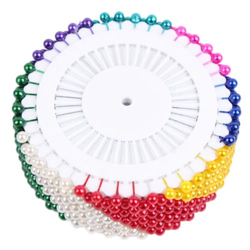 "Straight Pin Colorful 1-1/2"" (35mm)long Plastic Metal Dressmaker Sewing FAUX PEARL HEAD ROUND CORSAGE PINS Decorative Wedding Good Textile Hand Needles Crafts Clothes Heavy Duty"