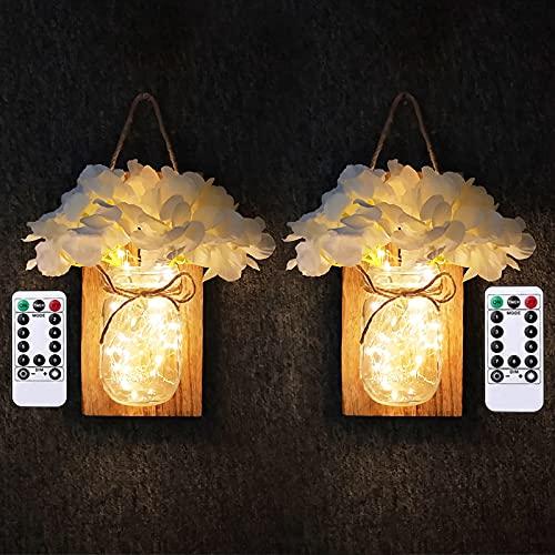 LED Lámpara de Decoración,Tarro de masón lámpara de pared con flores artificiales, Aplique de madera rústico Ganchos de hierro forjado, interior decoración lámpara para cocina, salón.( marrón)