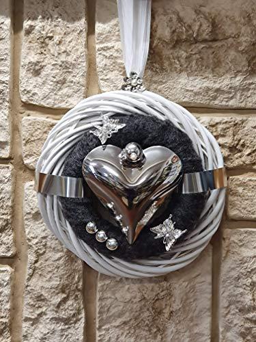 HIKO-EVENTDEKO Türkranz Rebenkranz Weiss Wandkranz Nr.84 Türkranz 30 cm mit Filz anthrazit weiß Silber modern Türdeko Türschmuck Kranz Türkranz