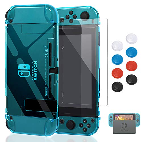 Case for Nintendo Switch,Fit The Dock Station, Protective Accessories Cover Case for Nintendo Switch and Joy-Con Controller - Dockable with a Tempered Glass Screen Protector,Crystal Clear Blue