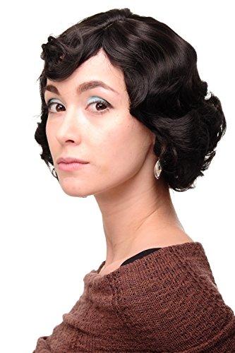 WIG ME UP ® - Parrucca Donna Anni 20 Swing Caschetto Ondulati Castano Castano scuro circa 25 cm A4002-3