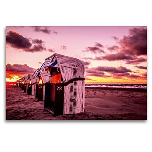 Premium Textil-Leinwand 120 x 80 cm Quer-Format Strandkörbe in Warnemünde   Wandbild, HD-Bild auf Keilrahmen, Fertigbild auf hochwertigem Vlies, Leinwanddruck von Thomas Deter