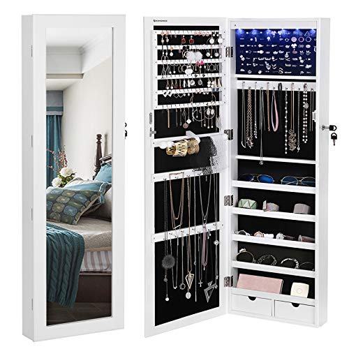 SONGMICS 6 LEDs Mirror Jewelry Cabinet, 47.3H Lockable Wall/Door Mounted Jewelry Armoire Organizer with Mirror, 2 Drawers, Pure White UJJC93W