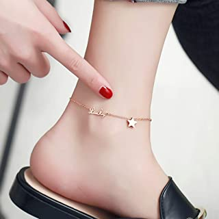 CXQ Simple Fashion Temperament Anklet Wild Lucky Five-Pointed Star Rose Gold Jewelry
