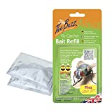 The Buzz Fly Catcher Non Toxic Insect Trap Prevention Bait Reusable Twin Pack Large Outdoor Use 10 Metre Radius (Bait Refill - 3 Pack)